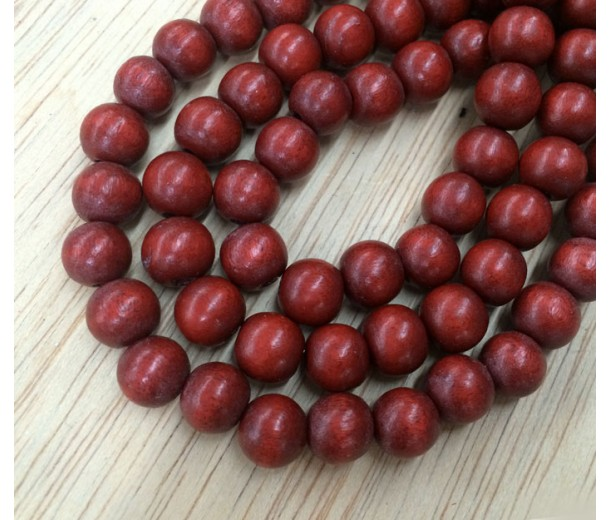Dyed Wood Beads, Rust Brown, 8mm Round