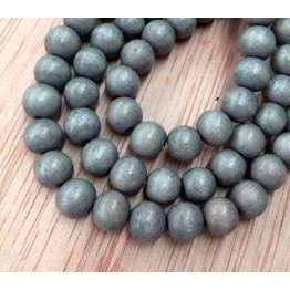 Dyed Wood Beads, Mouse Grey, 8mm Round