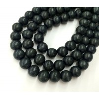 Dyed Wood Beads, Anthracite, 8mm Round