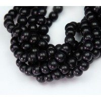 Dyed Wood Beads, Black, 5-6mm Round