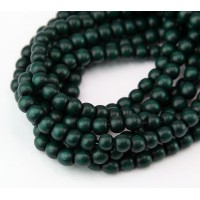 -Dyed Wood Beads, Hunter Green, 5-6mm Round