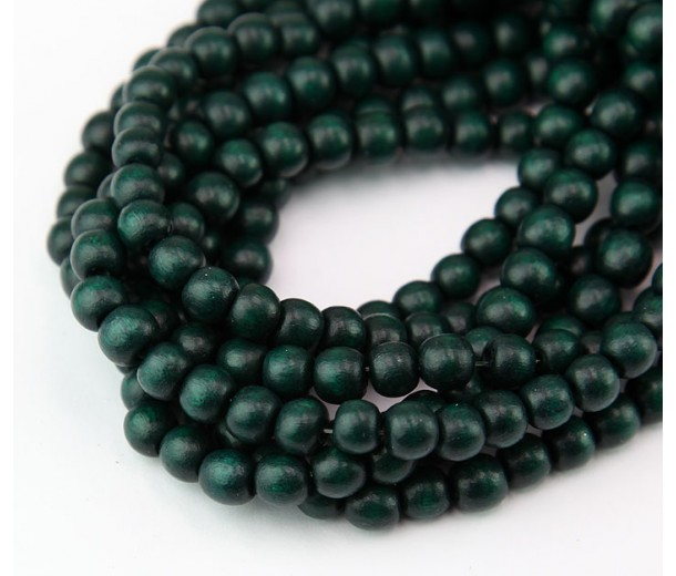 Dyed Wood Beads, Hunter Green, 5-6mm Round