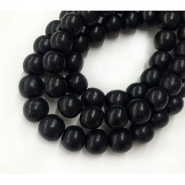 Dyed Wood Beads, Black, 8mm Round