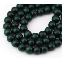 Dyed Wood Beads, Hunter Green, 8mm Round