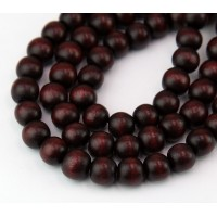 Dyed Wood Beads, Chocolate Brown, 8mm Round