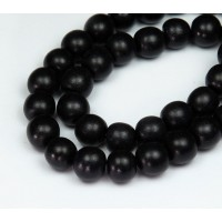 -Dyed Wood Beads, Black, 10mm Round