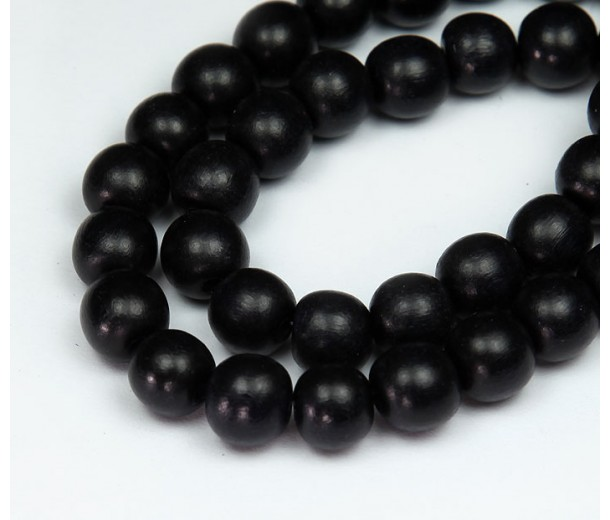 Dyed Wood Beads, Black, 10mm Round