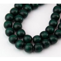 Dyed Wood Beads, Hunter Green, 10mm Round