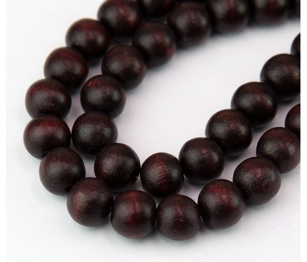 Dyed Wood Beads, Chocolate Brown, 10mm Round