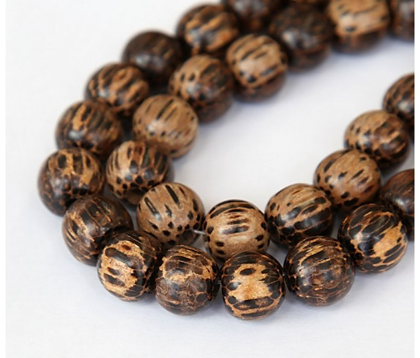 Patikan Wood Beads, Brown, 10mm Round