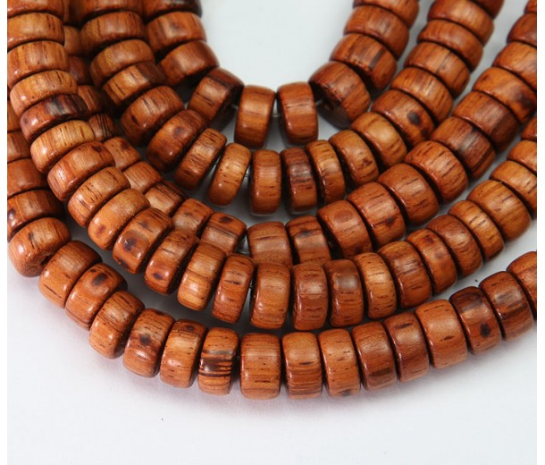 Bayong Wood Beads, Brown, 10x5mm Pucalet