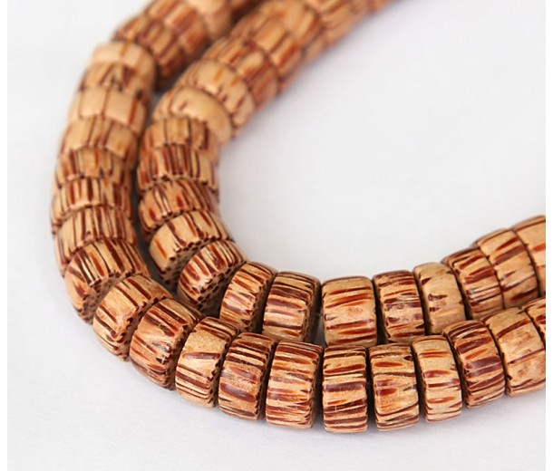 Palmwood Beads, Brown & Cream, 10x5mm Pucalet