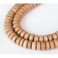 Rosewood Beads, Light Beige, 10x5mm Pucalet