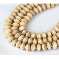 Wood Beads, Beige, 10x6mm Saucer