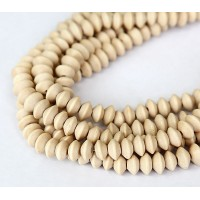 Wood Beads, White, 8x5mm Saucer