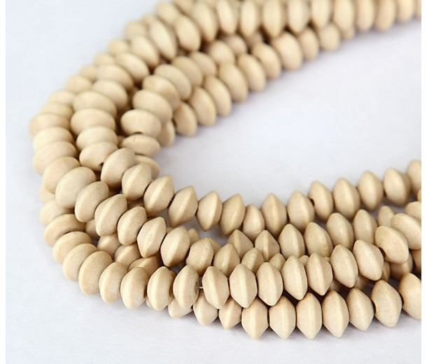 Wood Beads, Beige, 8x5mm Saucer