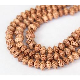 Palmwood Beads, Brown & Cream, 8x5mm Saucer