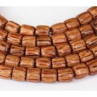 Palmwood Beads, Brown & Cream, 6x6mm Tube