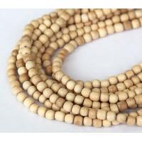 Wood Beads, Beige, 4-5mm Round