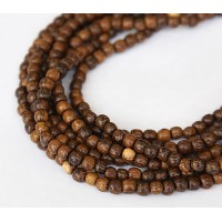 Robles Wood Beads, Brown, 4-5mm Round