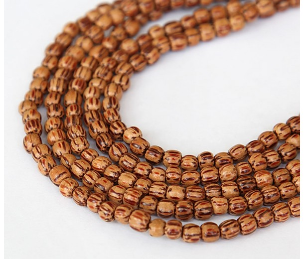 Palmwood Beads, Brown & Cream, 4-5mm Round