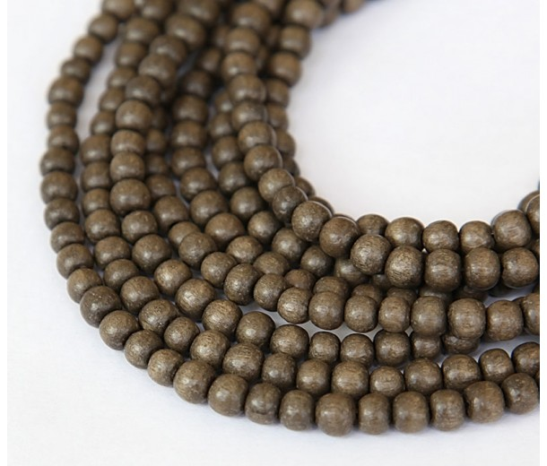Greywood Beads, Grey, 4-5mm Round