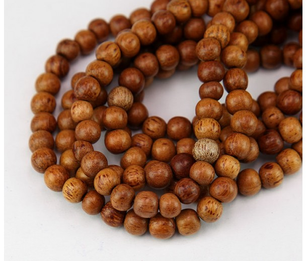 Bayong Wood Beads, Brown, 6mm Round