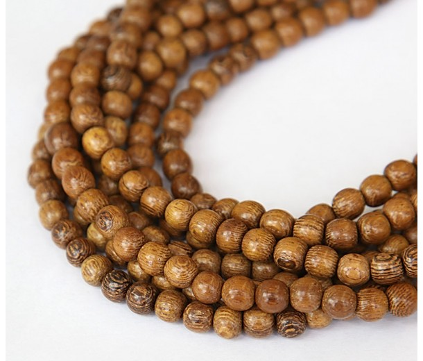 Robles Wood Beads, Brown, 5-6mm Round