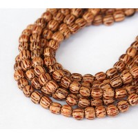 Palmwood Beads, Brown & Cream, 5-6mm Round