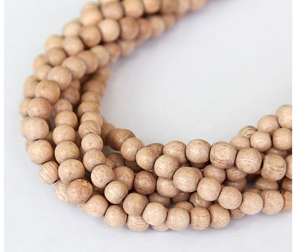 Rosewood Beads, Light Beige, 5-6mm Round