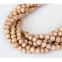 Rosewood Beads, Light Beige, 5-6mm Round