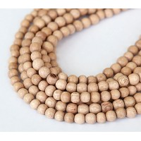 Rosewood Beads, Light Brown, 5-6mm Round