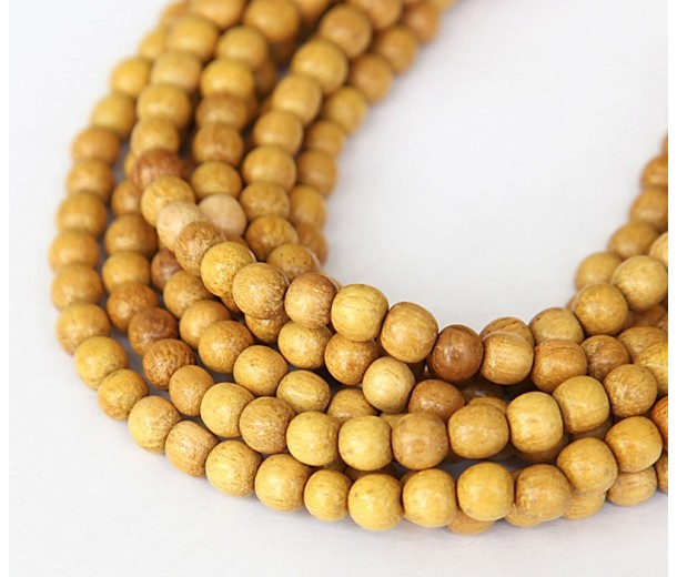 Jackfruit Wood Beads, 5-6mm Round