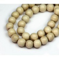 Wood Beads, Beige, 10mm Round