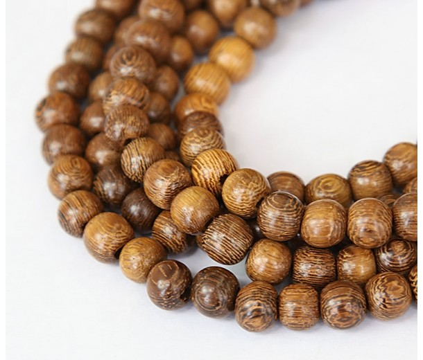 Robles Wood Beads, Brown, 8mm Round