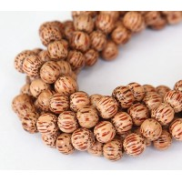 Palmwood Beads, Brown & Cream, 8mm Round