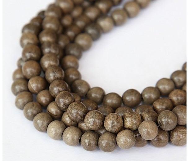 Greywood Beads, Grey Brown, 8mm Round