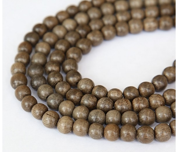 Greywood Beads, Grey, 5-6mm Round