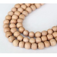 Rosewood Beads, Light Beige, 8mm Round