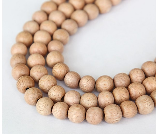Rosewood Beads, Light Brown, 8mm Round