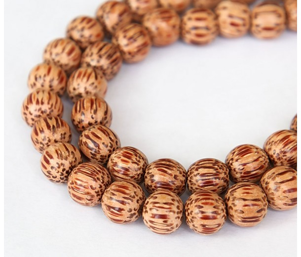 Palmwood Beads, Brown & Cream, 10mm Round