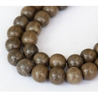 Greywood Beads, Grey Brown, 12mm Round