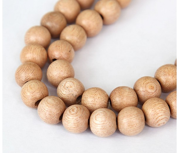 Rosewood Beads, Light Beige, 10mm Round
