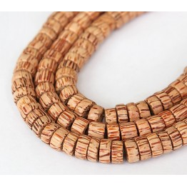 Palmwood Beads, Brown & Cream, 8x4mm Pucalet