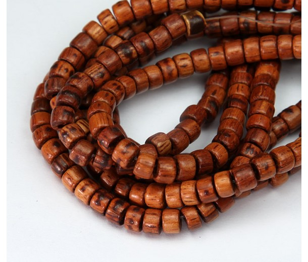 Bayong Wood Beads, Brown, 5x4mm Pucalet