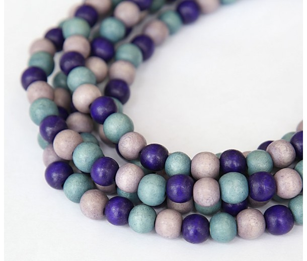 Dyed Wood Beads, Blue Multicolor, 8mm Round