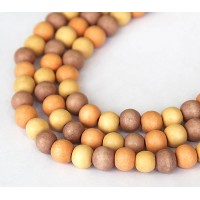 Dyed Wood Beads, Yellow Multicolor, 8mm Round