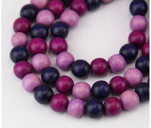 Dyed Wood Beads, Purple Multicolor, 8mm Round