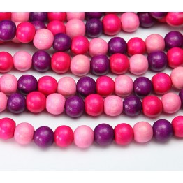 Dyed Wood Beads, Neon Pink Multicolor, 8mm Round