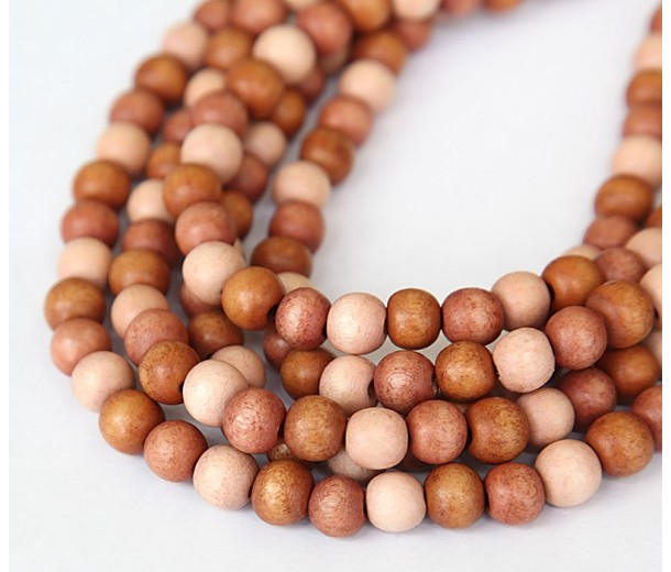 Dyed Wood Beads, Pink Multicolor, 8mm Round